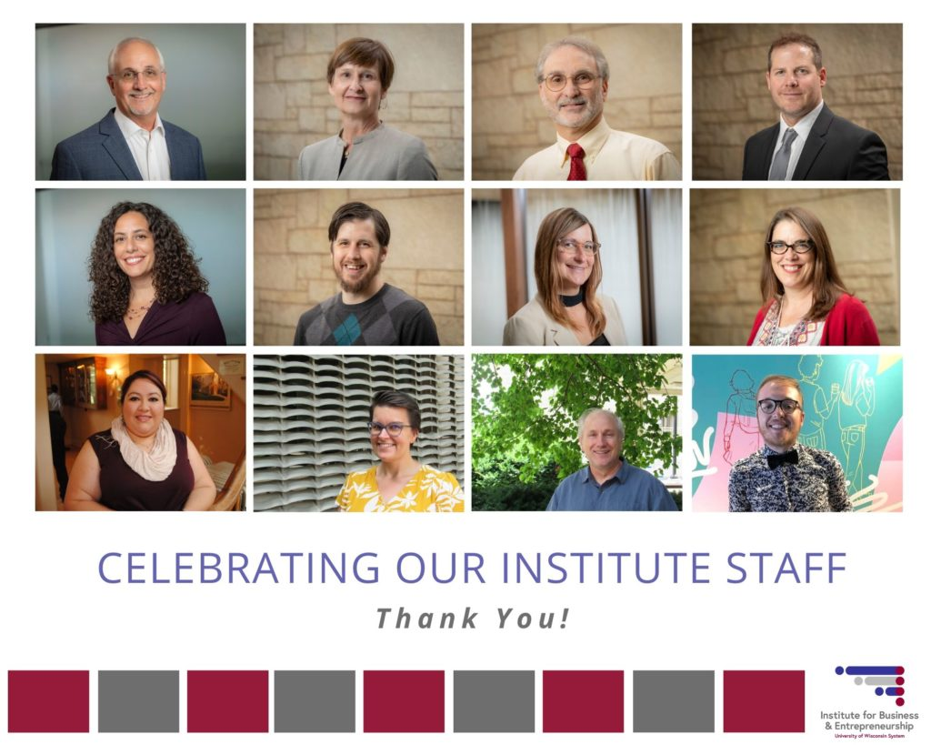 """IBE collage with 12 panels - text """"celebrating our institute staff"""""""